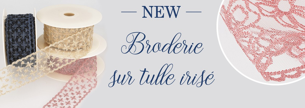 New - Broderie sur tulle irisée